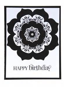 black and white designer birthday card embellished with pearl center cardsbylibe cards on