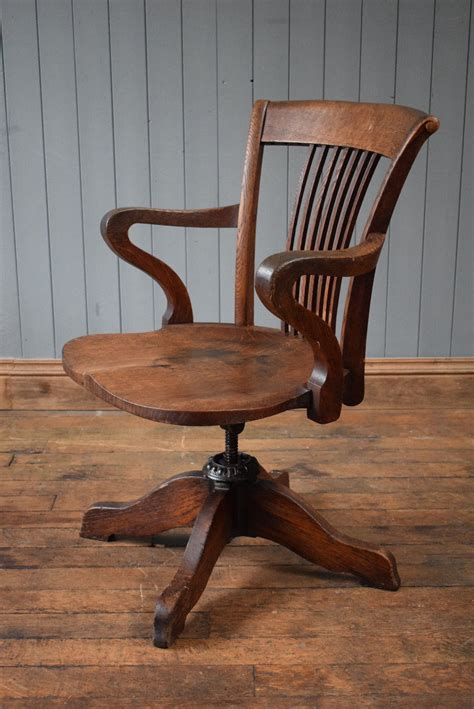 antique wooden desk chair antique v intage wooden swivel captains chair office desk