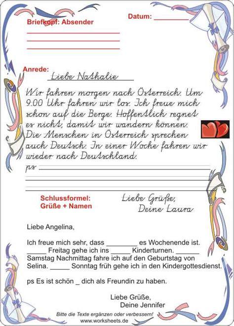 Briefe Schreiben Muster Deutschunterricht Briefe Schreiben