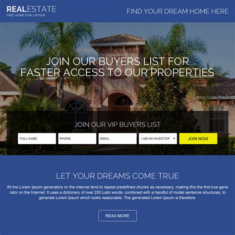 lead capture page templates free real estate landing page design templates for real estate