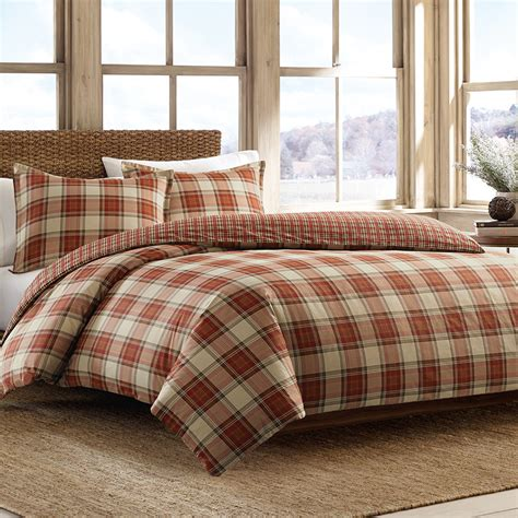 red plaid bedding eddie bauer edgewood plaid red duvet set from beddingstyle com
