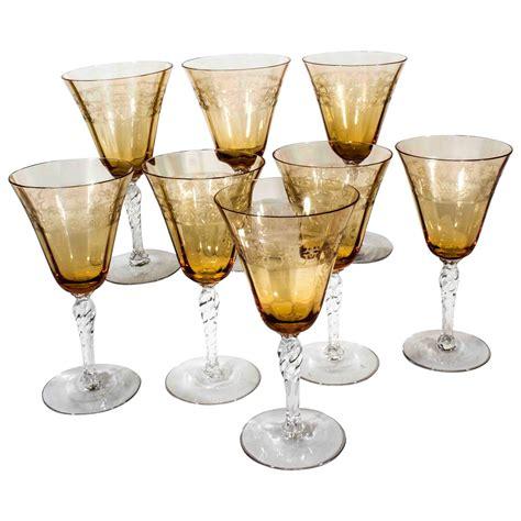 Etched Wine Glasses Vintage Etched Wine Glasses At 1stdibs