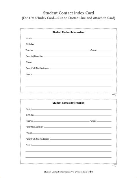 Free Templates For Info Cards For Students by Index Card Size Contact Information Template Pictures To