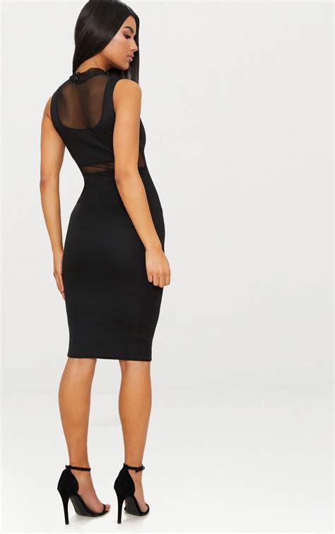 Mesh Panel Midi Dress black mesh panel midi dress dresses prettylittlething