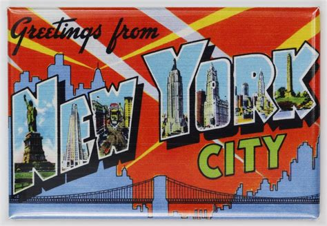 Greetings From New York City by Greetings From New York City Postcard Fridge Magnet Nyc