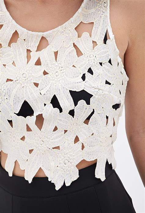 Flower Crochet White Rajut Bunga Crop Top forever 21 floral crochet crop top in white lyst