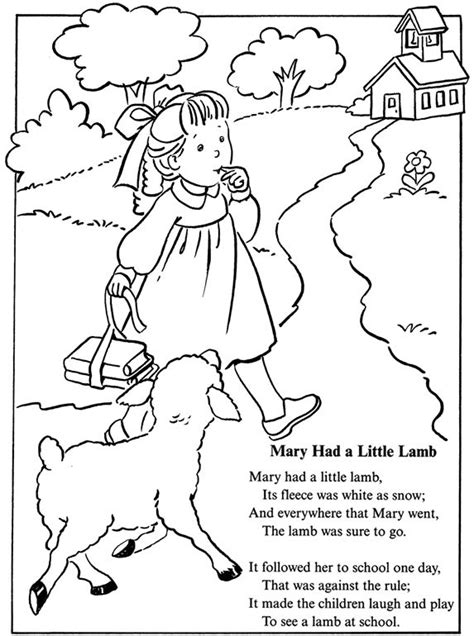 preschool coloring pages nursery rhymes coloring page inkspired musings mary had a little lamb
