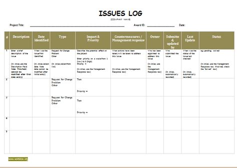 It Issue Log Template issue log template for ms word word document templates