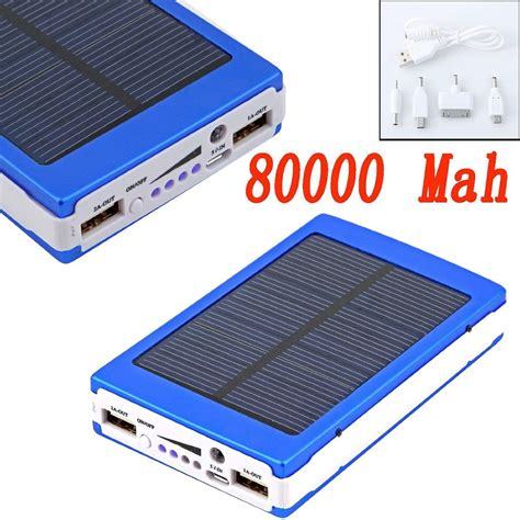Power Bank Solar 80000mah 2017 80000mah Dual Usb Portable Solar Battery Charger Power Bank For Cell Phone Blue From