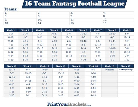 printable nfl league schedule printable 16 team fantasy football league schedule