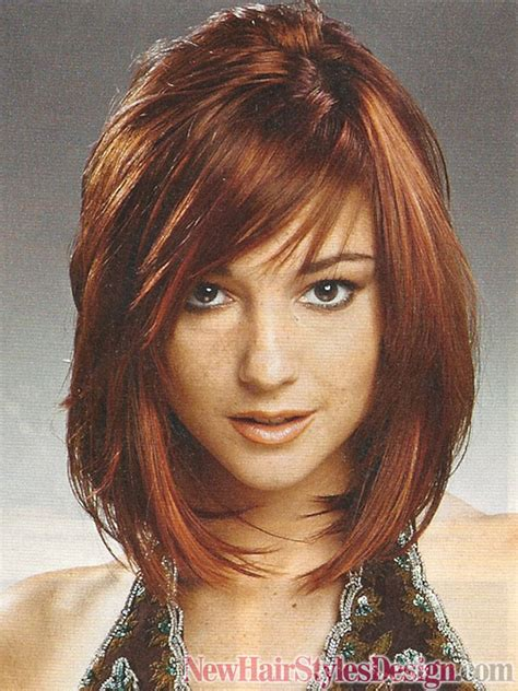 medium hairstyles that are angled towards the face here is a short haircut in the shape of a half moon