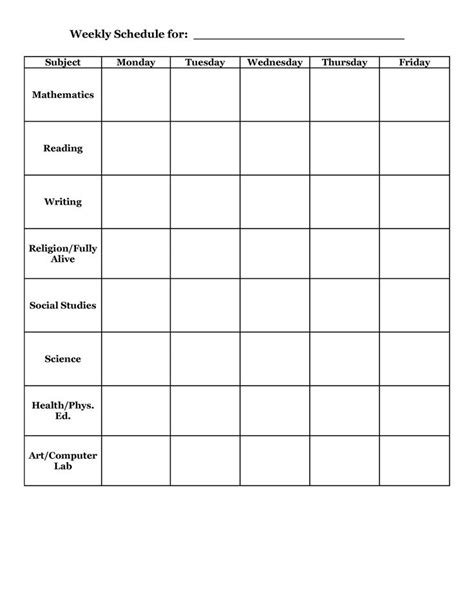 student planner templates weekly schedule template