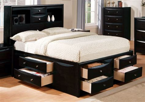 acme manhattan queen storage bed  black