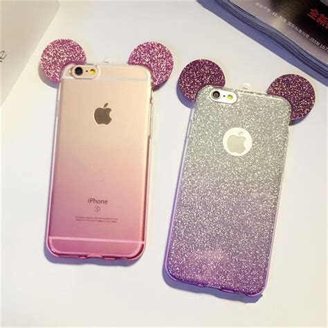luxury 3d mickey mouse ear for iphone 6 ears soft transparent tpu protect phone covers