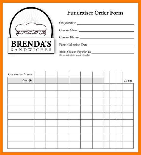 6 blank order form template park attendant