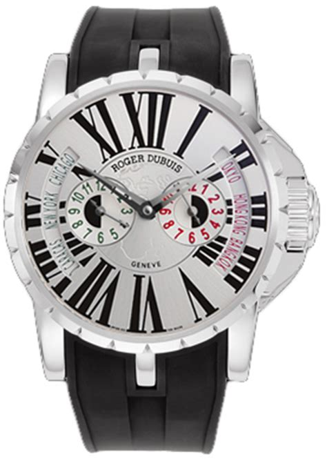 Roger Dubuis Excalibur World Time Silver ex45 1448 9 3 7att 28 roger dubuis excalibur time zone mens