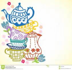 tea cup background with teapot stock vector image 29878033