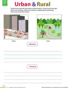 compare and contrast rural and urban worksheet