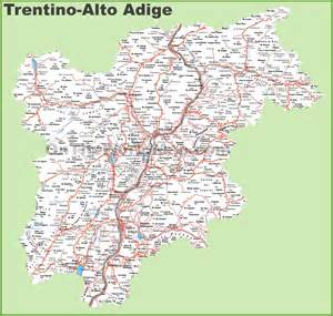 map cities and towns large detailed map of trentino alto adige with cities and