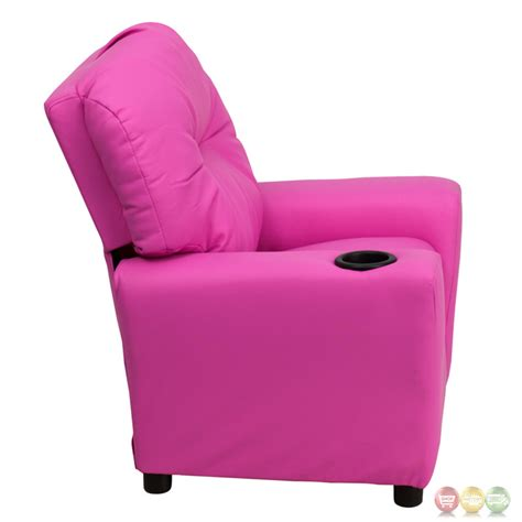 kids pink recliner contemporary hot pink vinyl kids recliner with cup holder