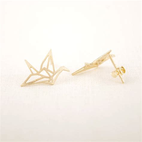 origami crane earrings by junk jewels notonthehighstreet