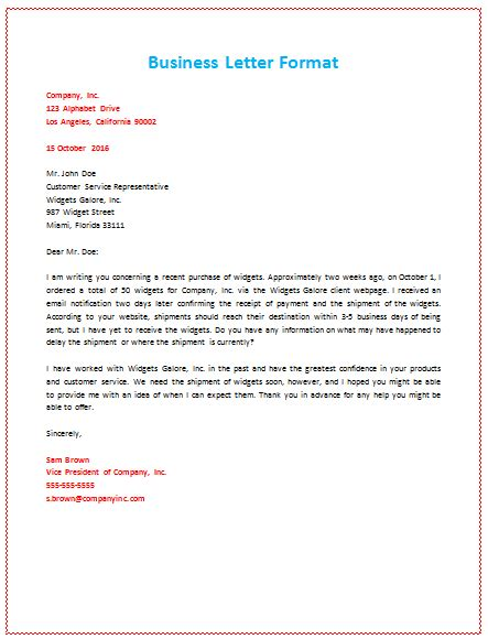 writing a business letter spacing business letter format about shipment personal business