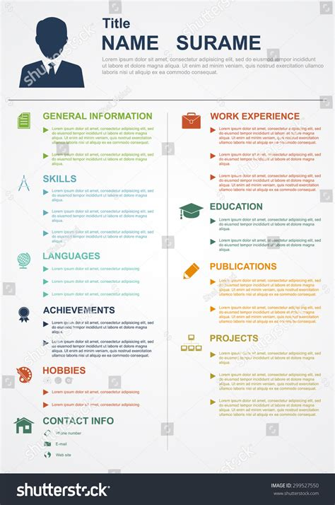 template resume cv infographic free infographic template icons cv personal profile stock vector 299527550