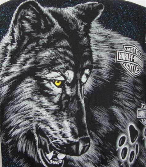 harley wolf for two harley davidson short sleeve black cottont shirt wolves