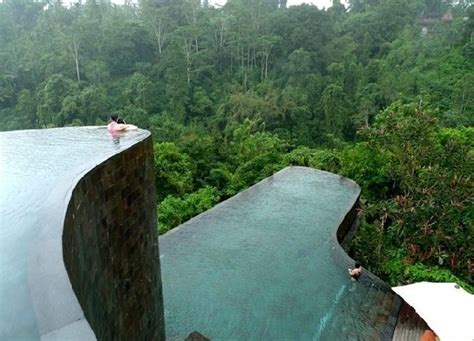 hanging infinity pools in bali at ubud hotel resort