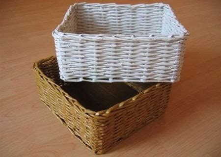 Paper Baskets - weaving baskets with newspaper