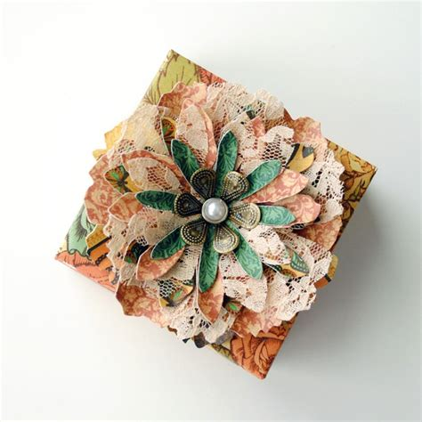 Handmade Paper Gifts - handmade paper flower decorated origami gift box