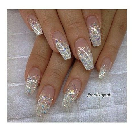 moon shape ombre glitter nail art pinterest french glitter ombre coffin shape nails pinterest