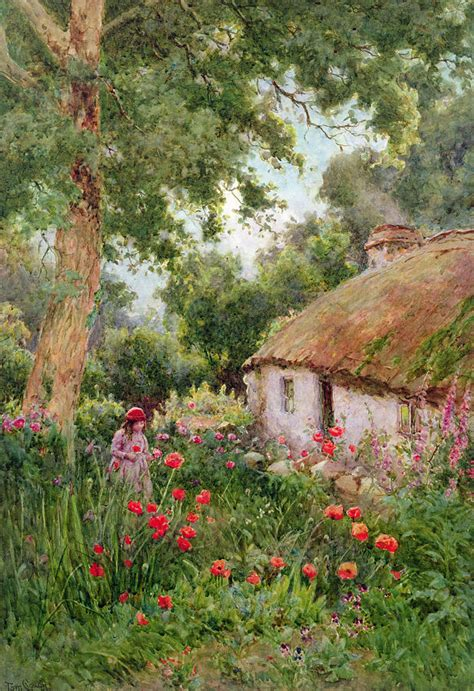 the cottage painting a cottage garden painting by tom clough