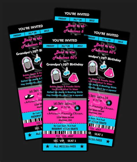 printable personalized tickets printable 50 s party ticket invitations by partyprintz