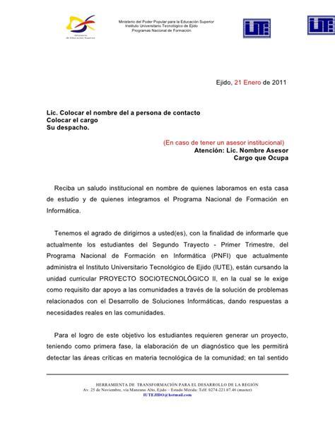 Carta De Terminacion De Servicio Comunitario modeolo carta de solicitud de proyectos