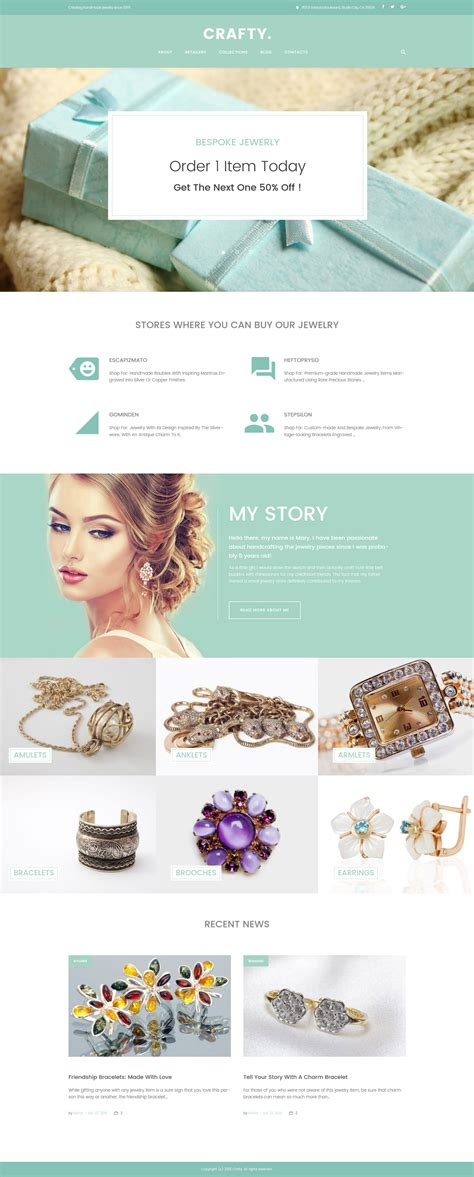 Jewelry Wordpress Template Handcrafted Jewelry Website Templates