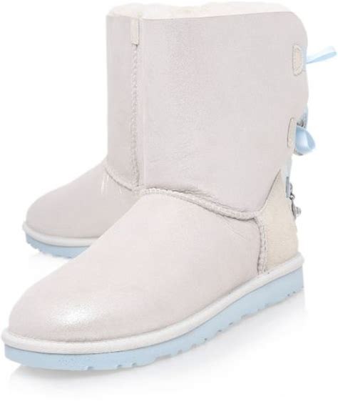 white ugg boots for ugg bailey bow bling i do in white lyst