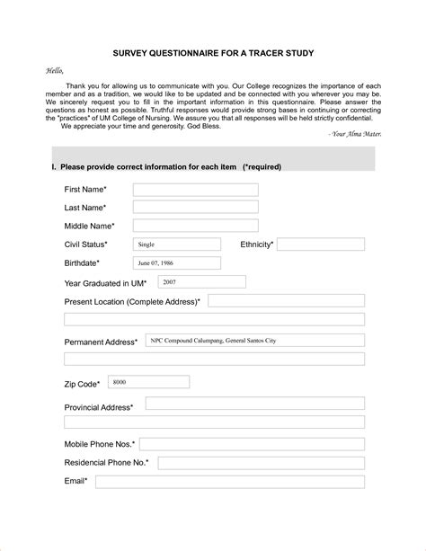 Survey Questionnaire - 4 sle survey questionnairereport template document