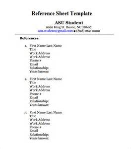 Reference Template For by Reference Sheet Template 9 Free Documents In Pdf