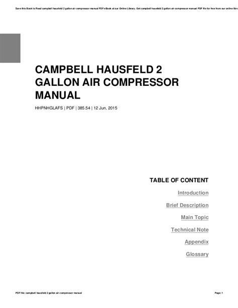campbell hausfeld  gallon air compressor manual