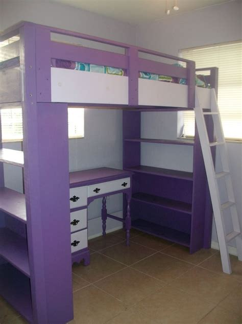 Diy Loft Bed With Desk Diy Loft Bed Plans With A Desk Purple Loft Bed With Bookcases Do It Yourself Home