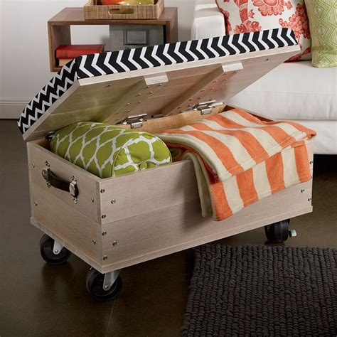 Rolling Storage Ottoman Furniture On Wheels Always Where You Need It In No Time