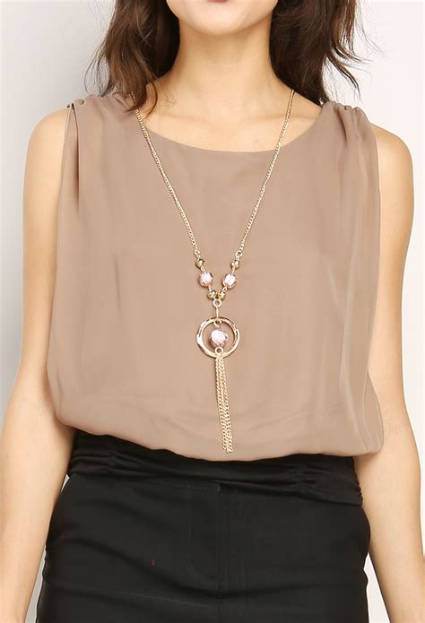 Best Seller Dress Pink Necklace Tmc blouse top w necklace shop best sellers at papaya clothing