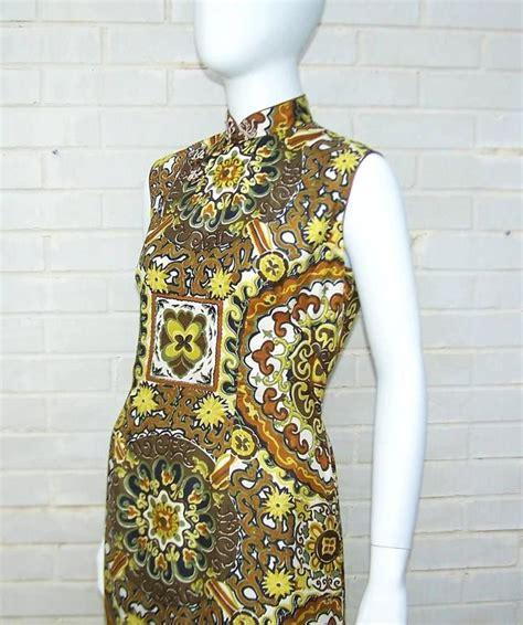 Id Leopard Cheongsam Dress c 1970 cheongsam silk tiki dress for sale at 1stdibs