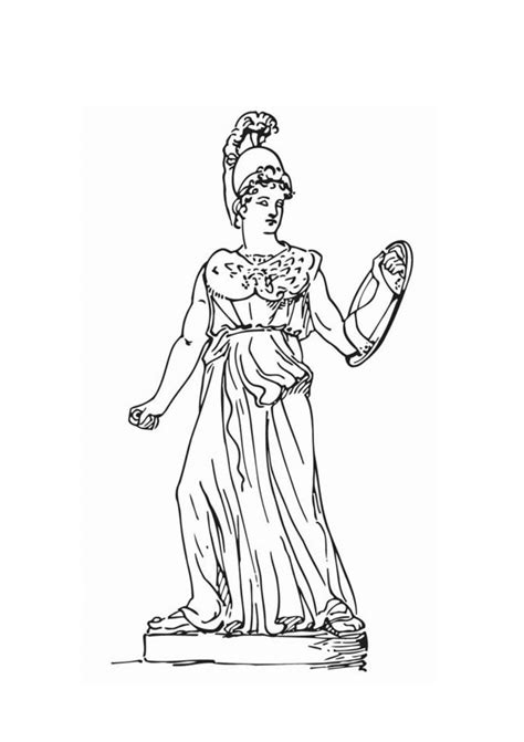 Athena Collour Black gallery gods and goddesses of mythology coloring pages