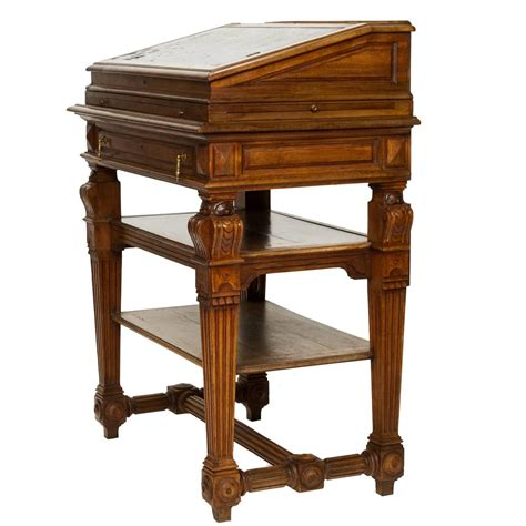 standing writing desk renaissance walnut stand up writing desk at 1stdibs
