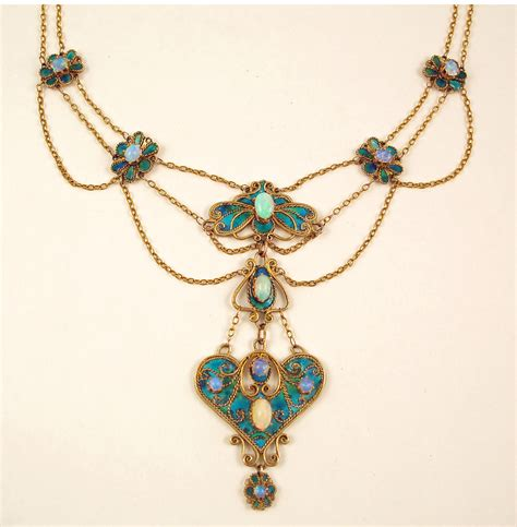 necklace craft arts crafts agnes pool enamel and opal necklace