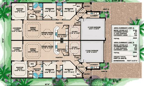 multi family compound plans welcoming living room design 66175gw 1st floor master