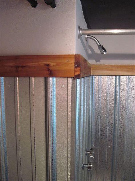 corrugated metal bathroom corrugated metal shower surround corrugated metal shower