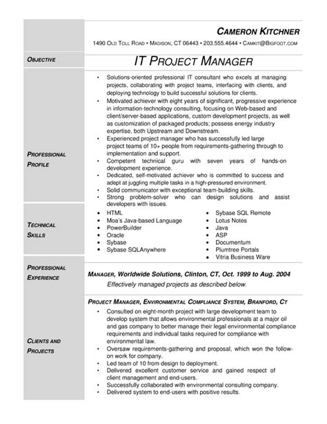 project manager resume template modern it project manager resume template